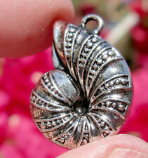 Silver Antique Ammonite Fossil Nautilus Pendant Jewelry Charm Spiral Vintage Sty