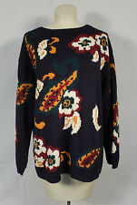 Vintage Navy Blue Floral Hipster Chunky Oversize Sweater Slouchy Retro Paisley L