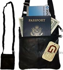 2 New hand bag leather passport case credit Card case purse neck travel pouch bn