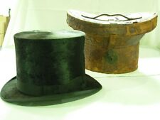 ANTIQUE 1880's YOUNG BROS NEW YORK BEAVER SILK TOP HAT TOPHAT WITH LEATHER CASE