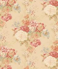 Wallpaper Victorian Vintage Look Large Floral Pink Blue Green On Beige