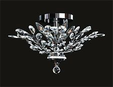 "Decorative 4-Light CHROME FLUSH MOUNT (D21"" x H15"") Crystals with Floral Effects"
