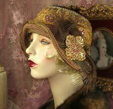 1920'S VINTAGE STYLE PETITE BROWN SEQUINED APPLIQUE FEATHER CLOCHE FLAPPER HAT