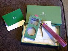 KATE SPADE NY MINI IPOD CASE APPLE RASBERRY KATY GREEN PINK NIB MSRP $55 LEATHER