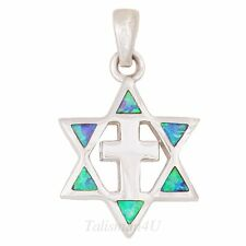 MESSIANIC Star Of David With Cross REAL Silver Blue OPAL Pendant Necklace Israel