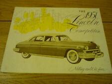 Lincoln Cosmopolitan Folleto 1951 Jm