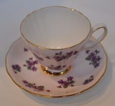 Vintage Colclough Pink with Purple Flower Cup and Saucer - Bone China - England
