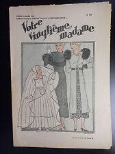 RARISSIME revue Votre Vingtiéme Madame N° 137 1933 No Petit Vingtième Hergé