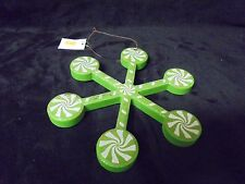 Green & White Resin Candy Cane Look Snow Flake Tree  Decor 6x7