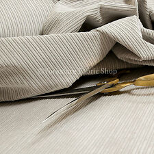 Soft New Pencil Pin Striped Corduroy Upholstery Fabric Material In Silver Colour