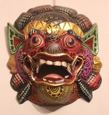 hand carved wooden excellently painted Barong wall mask leader of good spirits