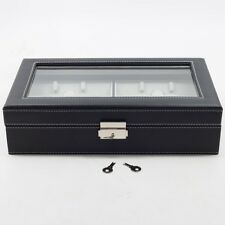 6 BLACK LEATHER EYEGLASS SUNGLASS GLASSES STORAGE DISPLAY GRID CASE BOX