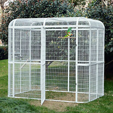Large Aluminum Bird Cage Heavy Duty House Pet Parrots Poultry Walk in Aviary