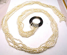 "50"" Threadable BELT / NECKLACE Multi White Pearls & Round Abalone Shell Ladies"