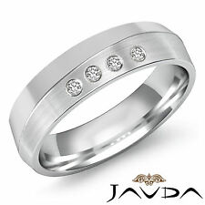4 Stone Round Bezel Diamond Men Half Wedding Band 6mm Ring 14k White Gold 0.10Ct