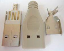 USB Steckverbinder mit Haube Kabel Stecker Typ A gerade Lötanschluss