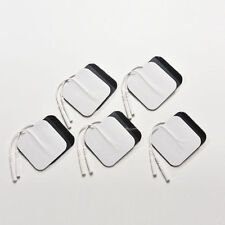 """5 pair of TENS EMS Stim Electrodes 2"""" x 2"""" Square Pads """"Pig Tail"""" 2mm plug NEW!"""