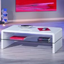 Momo Coffee Table In White Gloss With Glass Shelf