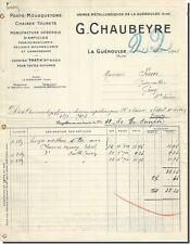 Vieille Lettre - G . CHAUBEYRE Usine Métalurgique -  la Guéroulde 1914