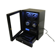 V6 LED Glass Door LED 4 Heads Automatic Watch Winder with Remote Control