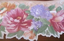 29 Feet WALLPAPER BORDER Cabbage Roses Purple Blue Tan  Flowers Molding 29-429