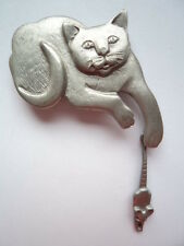 Vintage Signed Mali Cat and Mouse Brooch/Pin
