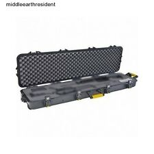 "54"" Gun Case 2 Double Scoped Rifle Lock Protect Storage Travel Hard Black Wheels"