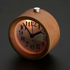 Classic Small Round Silent Table Snooze Beech Wood Alarm Clock Night Light New