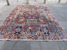 Old Traditional Hand Made Persian Rug Oriental Blue Wool Large Carpet 380x290cm