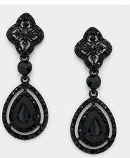 """2.3"""" Long Black DangLe Pierced Rhinestone Drop Austrian Crystal Pageant Earrings"""