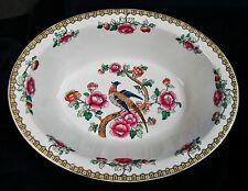 Antique PHEASANT Large Oval Deep Dish Serving Bowl F Winkle England Transferware
