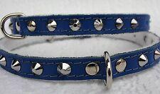 Hunde HALSBAND - Halsumfang 28,5-34,5cm/12 mm, Echt LEDER Nieten BLAU (12-0-94)