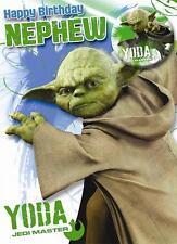 Star Wars Joyeux Anniversaire neveu Yoda badge & carte d'anniversaire cadeau NOUVEAU