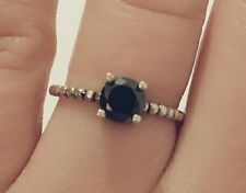 925 Sterling Silver Black Zircon Stone Solitaire Ring - Uni Size Adjustable Band