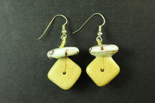 UNIQUE TRIBAL INSPIRED LADIES CASUAL STONE/WOOD DROP EARRINGS (ZX2)