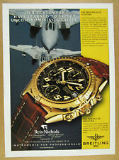 1999 Breitling CHRONOMAT Automatic Chronograph black & gold watch photo print Ad