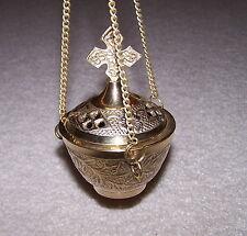 Cross Brass Hanging Censer Incense Burner altar clergy mass oil ritual