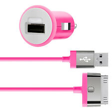Belkin MIXIT iPhone 4S 4 3G iPad 3 2 1 Fast 2.1Amp/10W Car Charger & Cable Pink
