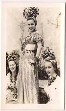 Gorgeous Women In Carmen Miranda Spanish Style Fruit Headdress Vtg 1940s Photo