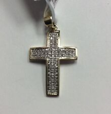 10K REAL YELLOW GOLD Small 0.17ct Diamond Cross PENDANT 1.8g