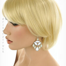 COLOR Silver Tone WHITE BEADS Dangle EARRINGS with FROSTED Iridescent OFF-WHITE