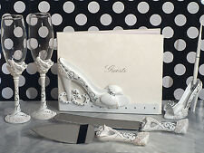 7 Pc Cinderella Slipper Shoe Wedding Guest Book Toasting Flutes Cake Serving Set