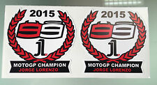 Jorge Lorenzo 2015 MotoGP Champion Stickers Decals X2
