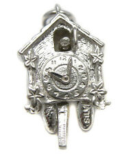 Sterling 925 Silver Welded Bliss Charm Bavarian Cuckoo Clock Hands & Bird Move