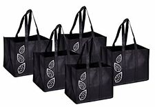 Bekith 5 Piece Large Collapsible Shopping Bags Set,Black Reusable Grocery Tote