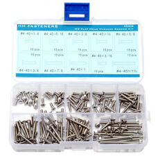 #4-40 Phillips Flat Head Machine Screws 145-piece Assortment Set Stainless Steel