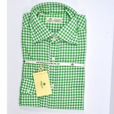 100% new LUIGI BORRELLI shirt green white check 39 - 15 1/2 -  160390