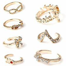 1 Set 7pcs Womens New Bowknot Knuckle Finger Tip Stacking Rings MJ
