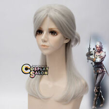 Witcher Ciri Synthetic 50CM Silver Gary Women Anime Cosplay Hair Wigs+Wig Cap