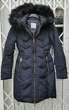 ZARA FUR HOODED DOWN JACKET COAT SIZE S 10 NAVY BLUE VGC